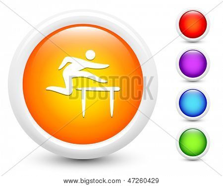 Hurdle Icons on Round Button Collection Original Illustration
