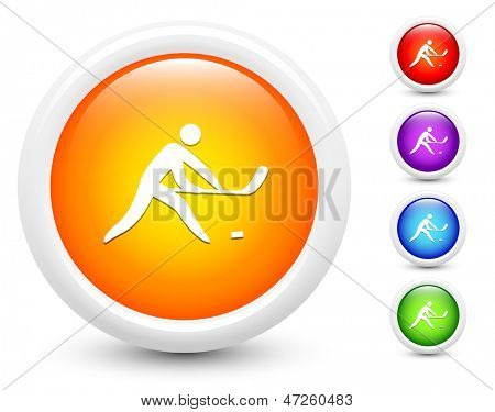 Hockey Icons on Round Button Collection Original Illustration