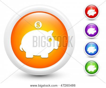 Piggybank Icons on Round Button Collection Original Illustration