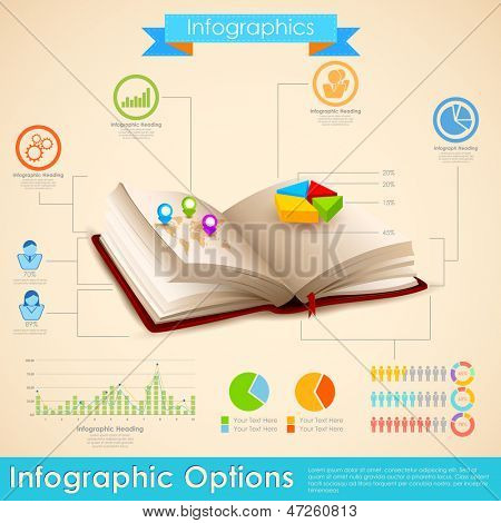 illustration of education infographic in open book