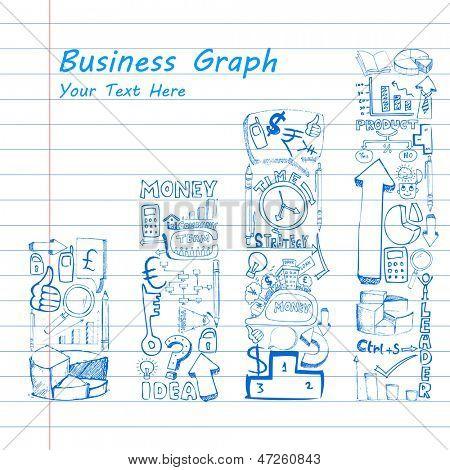 illustration of business doodle bar graph