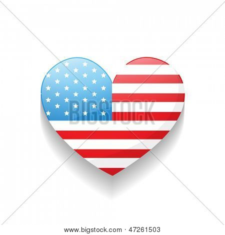 stylish heart american independence day