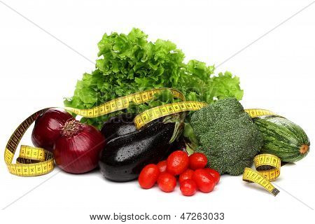 Delicious group of vegetables over white