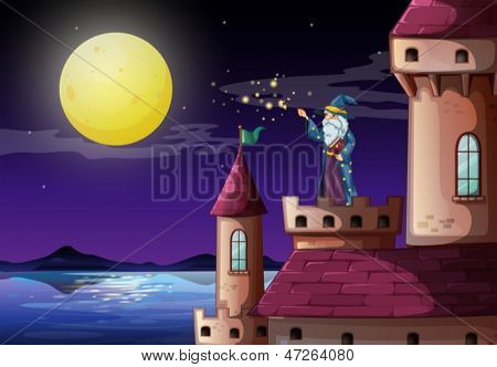 Illustration of a wizard in the castle's tower