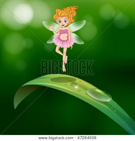 Illustration of a beautiful fairy above an elongated green leaf