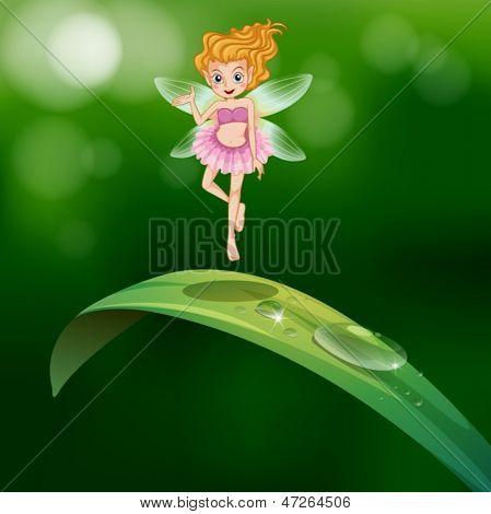 Ilustración de una hermosa hada sobre una hoja verde alargada