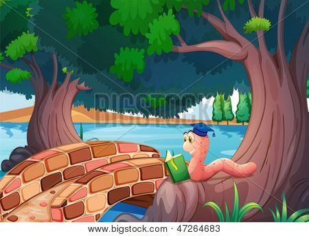 Illustration of a worm reading a book above the roots of a tree