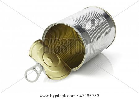 Open Empty Tin Can Lying On White Background
