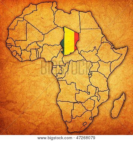 Chad na real mapa da África