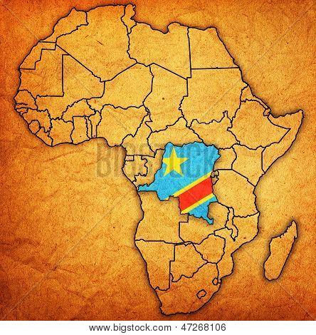 República Democrática do Congo no mapa real da África