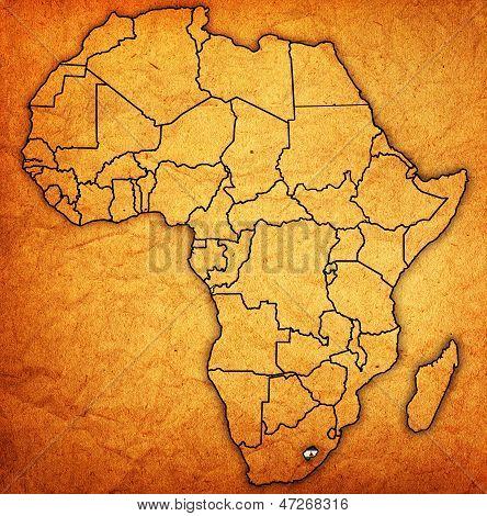 Lesoto no mapa real da África