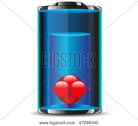 Atom battery.Vector