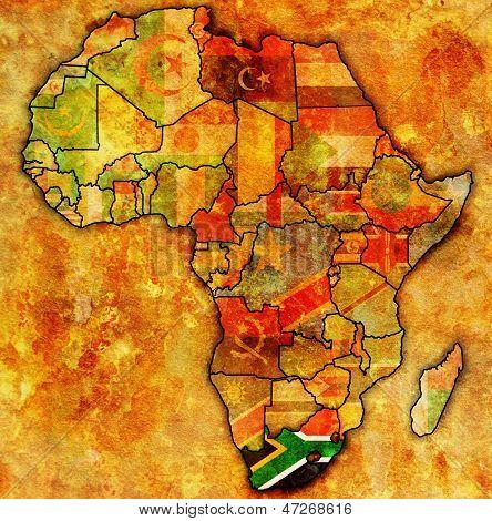África do Sul no mapa real da África