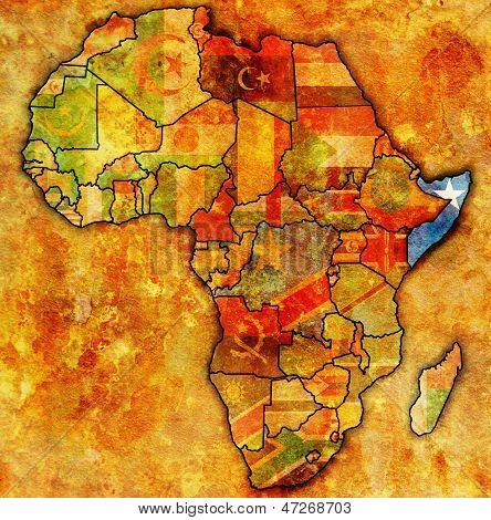 Somália na real mapa da África