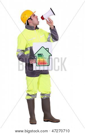 Builder with energy rating poster