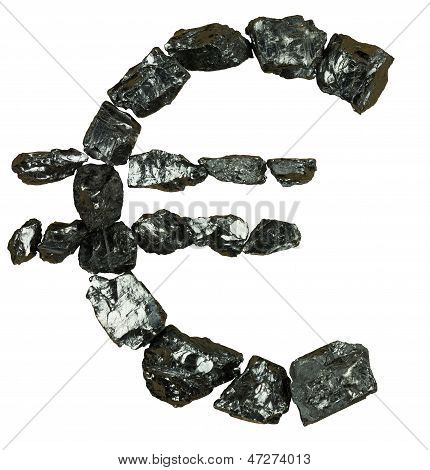 Euro Symbol On white background From Coal Nugget