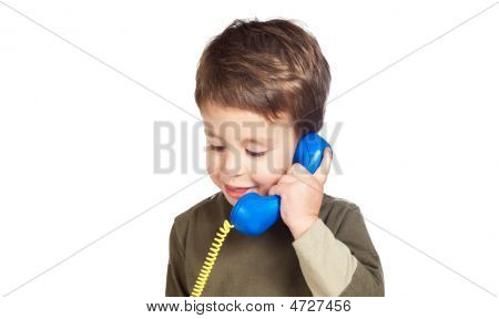 Adorable Child On The Phone