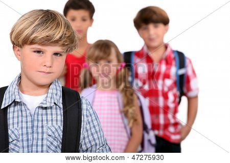 Schoolboy and his friends