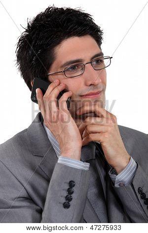 Stylish businessman talking on his mobile phone