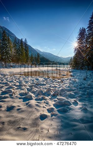 Snowcovered Lake Hintersee, Berchtesgadener Land, Bavaria, Germany
