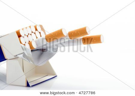Box Of Cigarettes Over White