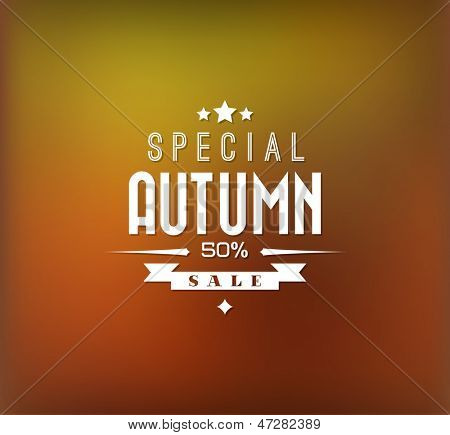Autumn sale vector retro poster with abstract blurred fall background