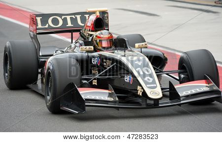 MOSCOW - JUNE 23: Marlon Stockinger of Lotus team (CZE) ready for start at World Series by Renault in Moscow Raceway on June 23, 2013 in Moscow