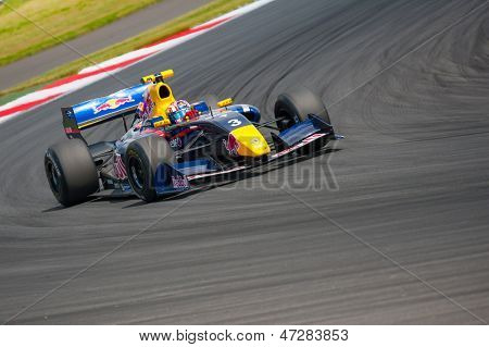 MOSCOW - JUNE 23: Antonio Felix da Costa of Arden Caterham team (GBR) race at Formula Renault 3.5 race at World Series by Renault in Moscow Raceway on June 23, 2013 in Moscow