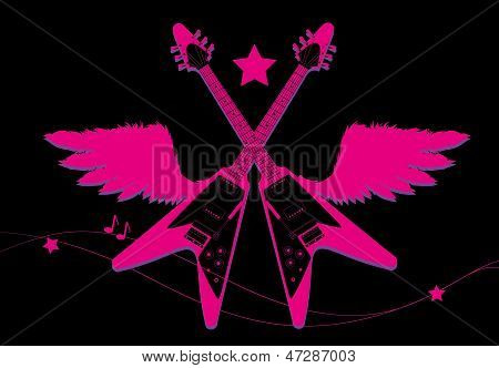 Rock pink guitar illustration