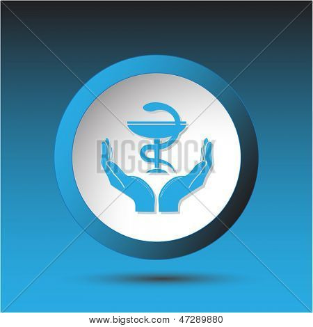 health in hands. Plastic button. Vector illustration.