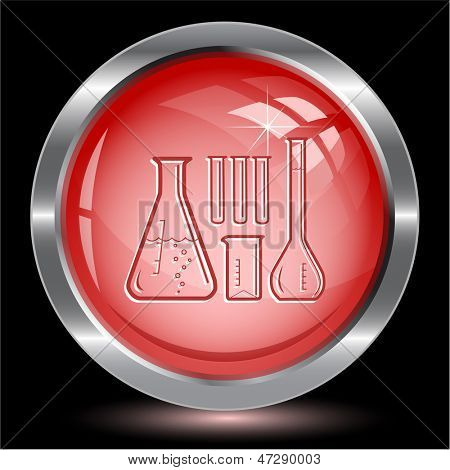 Chemical test tubes. Internet button. Vector illustration.