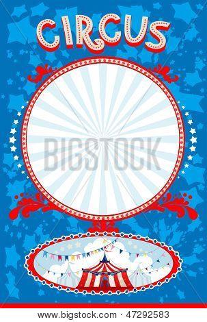 Blue circus poster with space for text