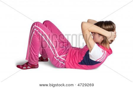 Girl In Pink Activewear Doing Fitness Exercises