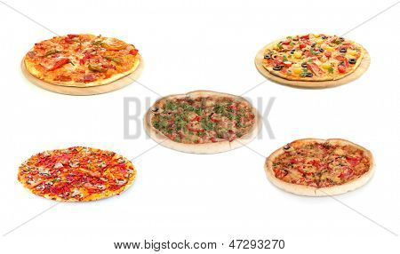 Pizza set isolated on white