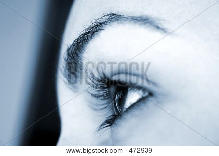 Girls Eye - Perspective Focus. Macro; Focus On Pupil. Blue Tones