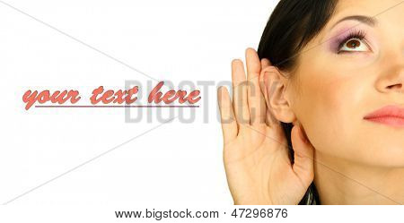 Girl overhears isolated on white
