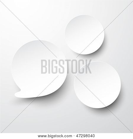 Vector illustration of white paper round speech bubble. Eps10.