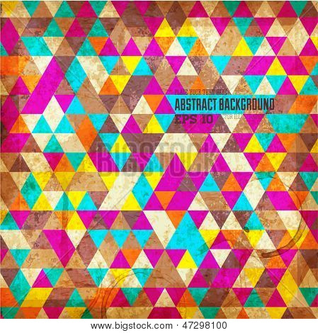 Retro geometric pattern. Vector grunge background for design.