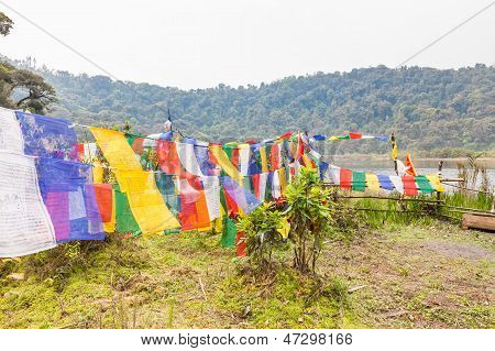 Buddhist Flags At Sacred Lake