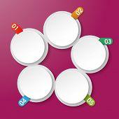 Постер, плакат: Пять информация этикетки с чисел круга прямоугольник фиолетовый фон
