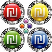 stock photo of shekel  - Israeli shekel currency icon on square glossy colorful vector button - JPG