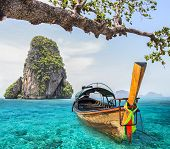 foto of nic  - Railay beach in Krabi Thailand with boat - JPG