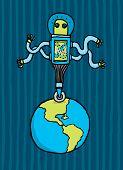 stock photo of adversity humor  - Cartoon illustration of Alien dominating the earth - JPG