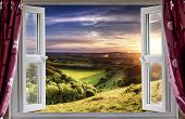 stock photo of farm landscape  - View through an open window onto beautiful landscape - JPG