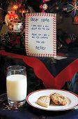 Постер, плакат: Дорогой Санта письмо с молоком и печеньем