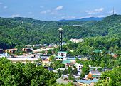 stock photo of gatlinburg  - The skyline of downtown Gatlinburg - JPG