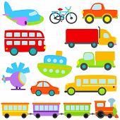 stock photo of scooter  - Cute and Colorful Cartoon Vector Transportation Set - JPG