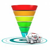 picture of conic  - Sales funnel with 6 stages easily customizable from 3 to 6 levels with a basket and a target - JPG