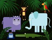 foto of jungle animal  - Collection of stylized jungle animals - JPG