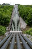 stock photo of hydro-electric  - big pipes of hydro electric power station in germany - JPG